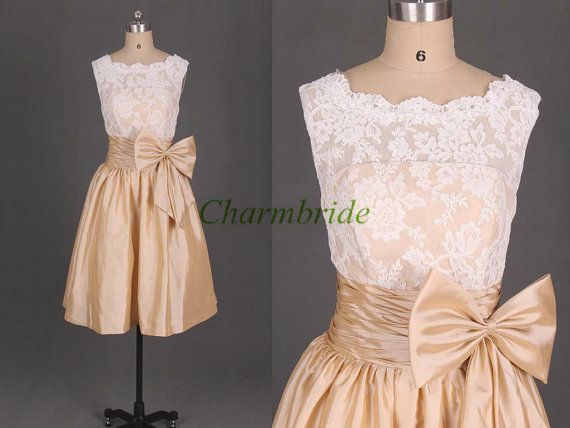 white lace and champagne taffeta bridesmaid dresses simple cute bridesmaid gowns with bow cheap knee length dress for wedding party