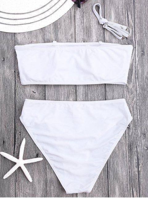 Padded High Cut Bandeau Bikini Set - WHITE L
