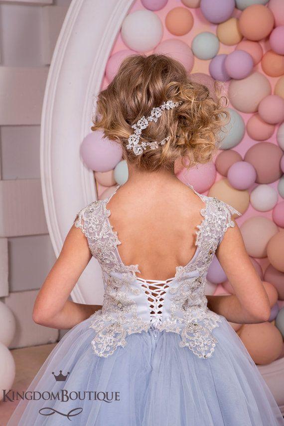 Silver Blue Tulle Flower Girl Dress Wedding от KingdomBoutiqueUA