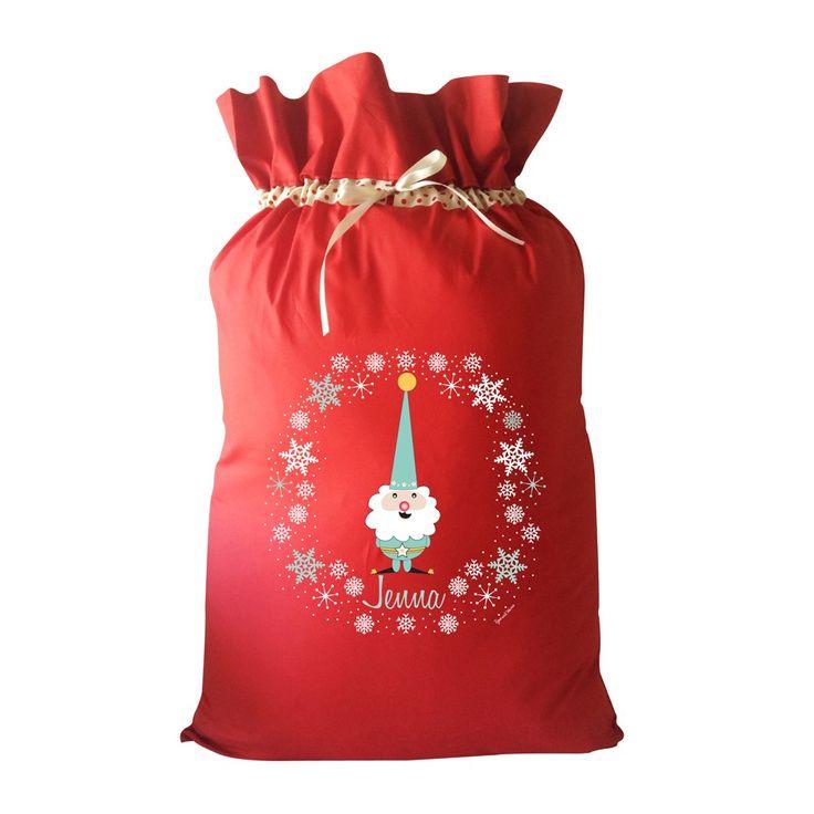 Green Gnome Personalised Christmas Santa Sack