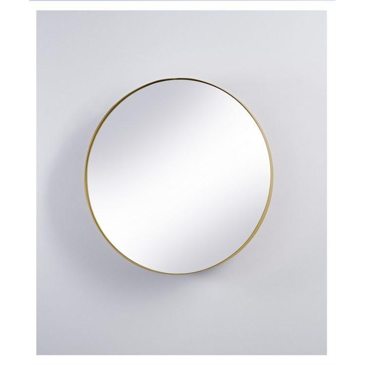 Spegelskåp med stor rund spegel Spegelskåp i plåt med två hyllor och utvikbar dörr (svängel). Spegelskåpet levereras färdigmonterat. Spegelskåpet finns i
