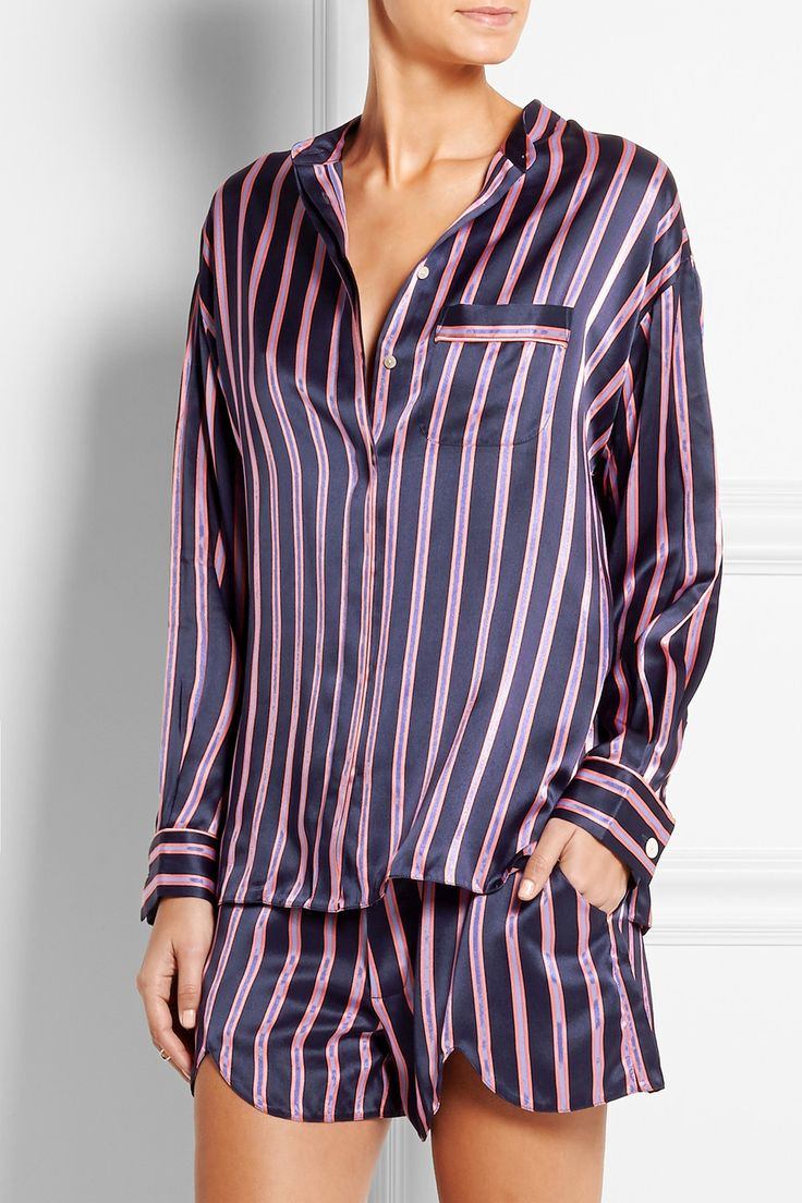 Black Silk Pajamas: Vita Prudence Striped Silk-satin Pajama