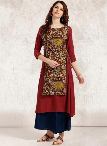 Buy Anouk Maroon Kalamkari Print A-Line Kurta for Women Online India, Best Prices, Reviews | AN381WA10SKRINDFAS
