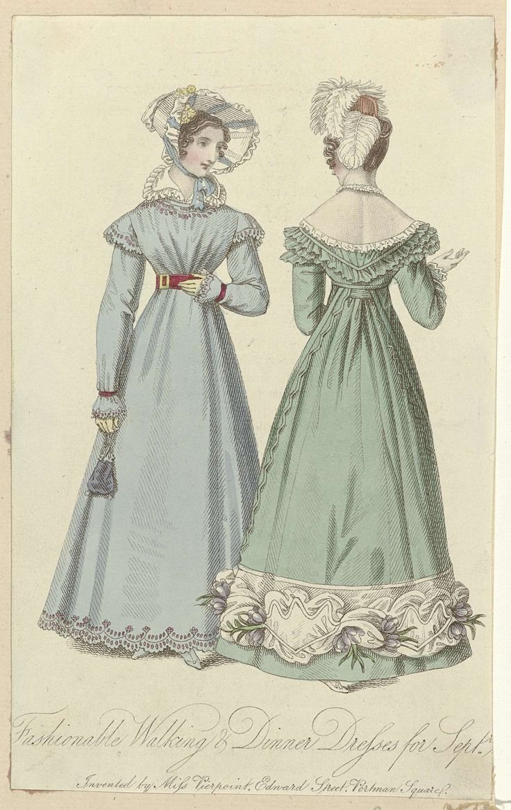 Fashionable Walking & Dinner Dresses for Sept. 1820
