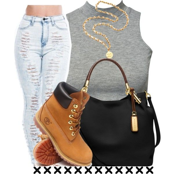 A fashion look from November 2014 featuring crop top, high waisted jeans and timberland boots. Browse and shop related looks.
