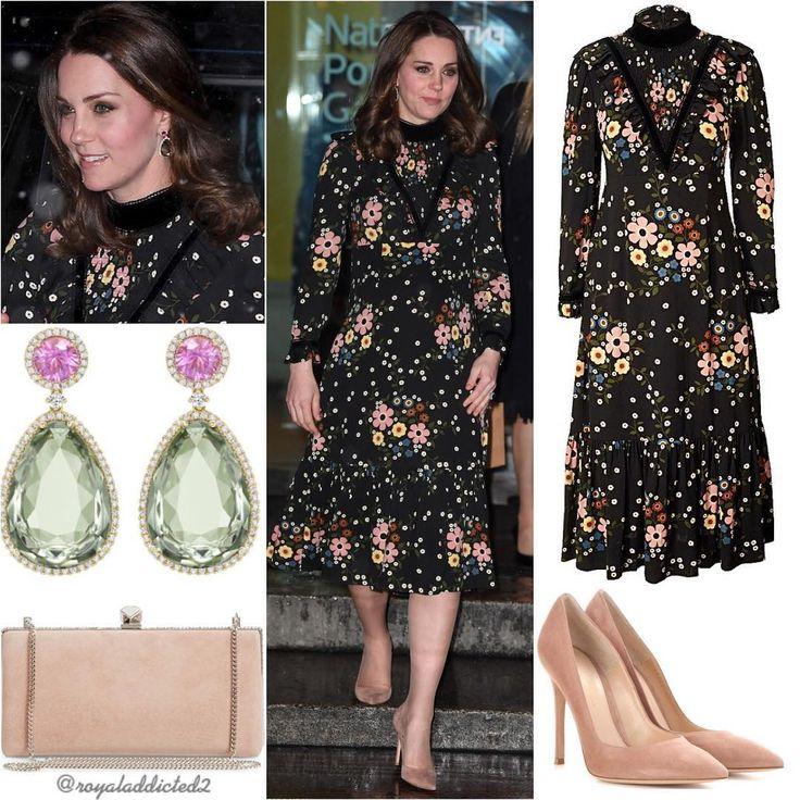 """""""Duchess of Cambridge Style! Dress: Orla Kiely; Shoes: Gianvito Rossi; Clutch: Jimmy Choo; Earrings:…"""""""