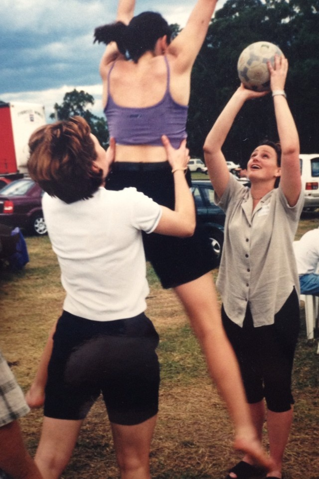 """You saw it here first! Former Sydney Swifts Liz Ellis, Alison Broadbent and Megan Anderson practise """"The Lift"""" in 1999. Photo courtesy of Cath Cox."""