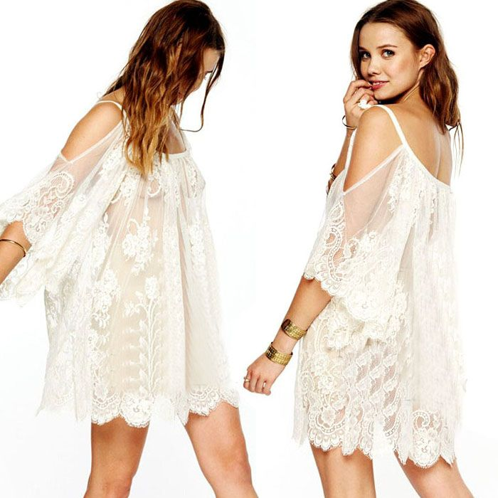 2015 Fashion Vintage Hippie Boho People Embroidered Floral Lace Crochet Mini Dress Sexy -Free Shipping for all to over 200 countries on Malloom.com