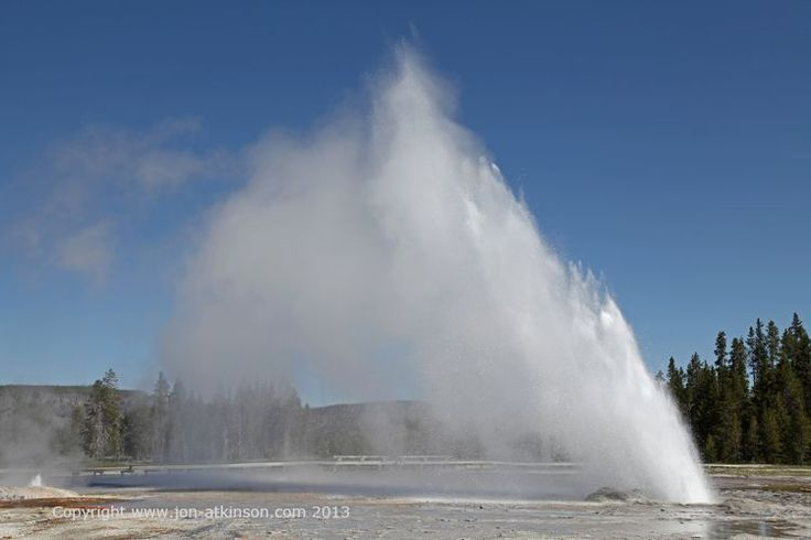 Daisy Geyser, Yellowstone National Park: An eruption of Daisy Geyser starts with boiling water splashing from one of several vents in the thick sinter ledge partially surrounding the geyser's crater. This eruption indicator means that a full eruption is about to occur. Boiling water soon pours over the crater's edge, and the splashing increases until the eruption starts.