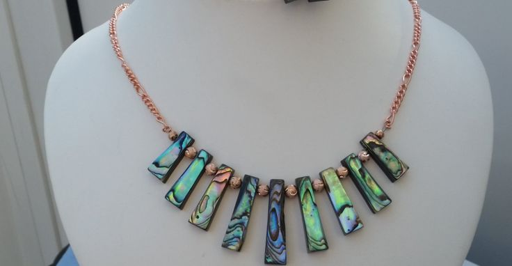 Abalone Shell and rose gold plated Necklace by Gemhance on Etsy