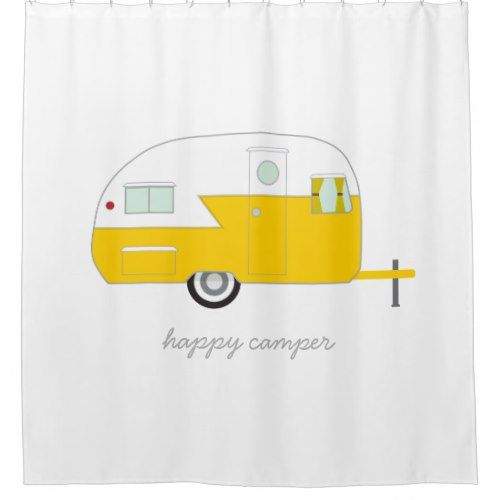 Happy Camper Yellow Shower Curtain