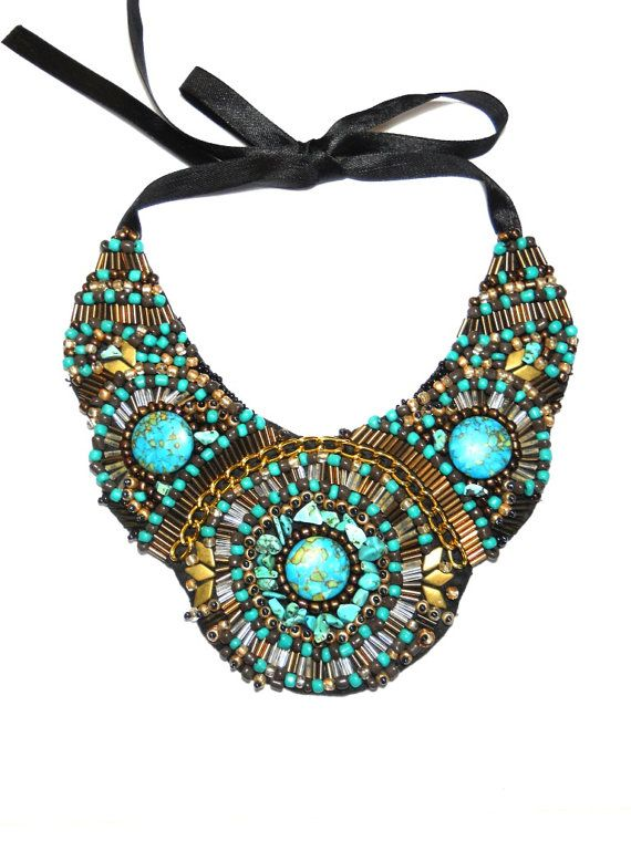 Turquoise Bronze Gold beaded bib necklace by by AniDandelion, $140.00
