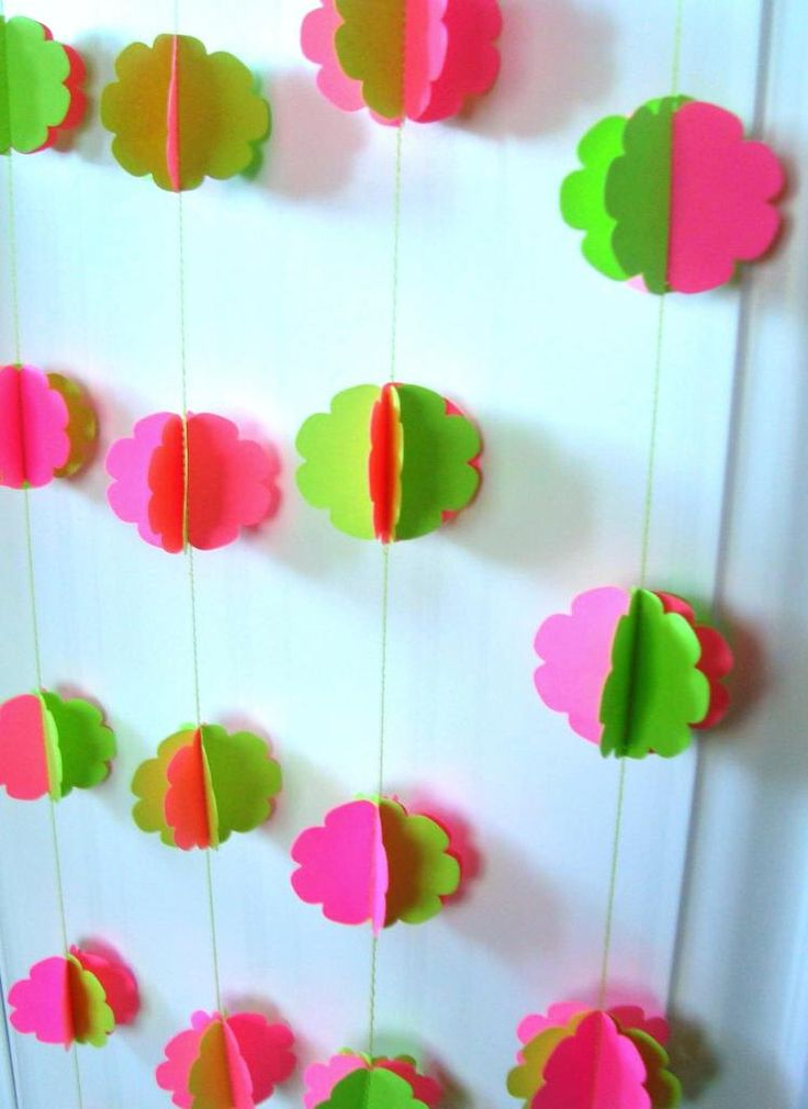 Pink Lime Green Paper Garland, Scallop Circles, Spheres, 3d, 11 ft, Wedding, Party, neon green, neon pink, hand made decoration by Wcards on Etsy https://www.etsy.com/listing/173863965/pink-lime-green-paper-garland-scallop
