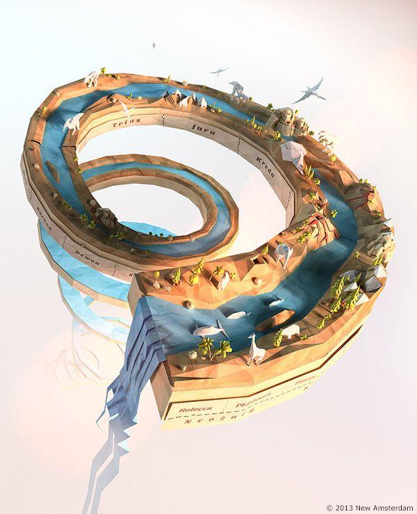 Power Giants - lowpoly paperworld by Mateusz Szulik, via Behance - 3D Typography Design Modelling