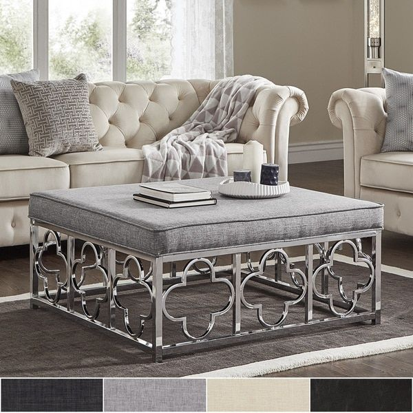 Solene Chrome Quatrefoil Base Square Ottoman Coffee Table by iNSPIRE Q Bold