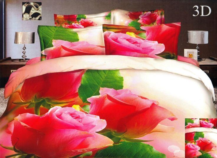 Kremowa pościel do sypialni w różowe róże