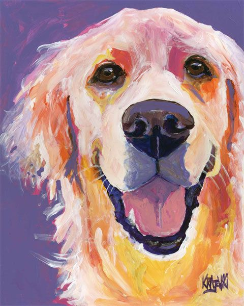 Golden Retriever Art Print of Original Acrylic by dogartstudio, $24.50