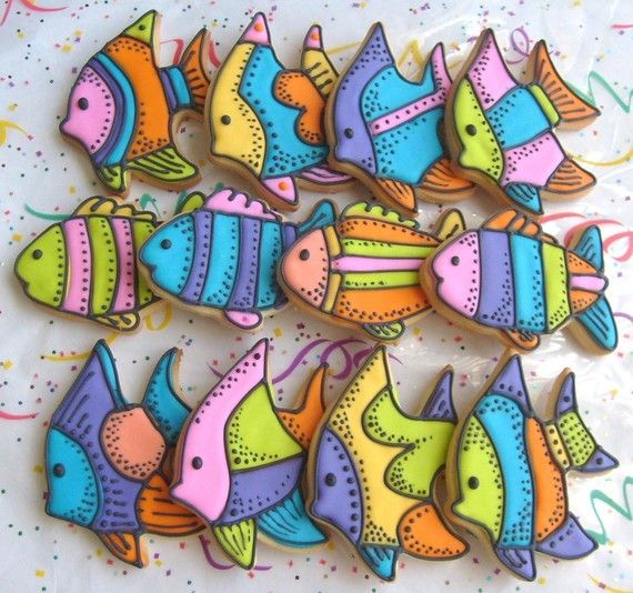 Tropical Fish Decorated Cookie Favors  Fish Cookies  by lorisplace, $36.99