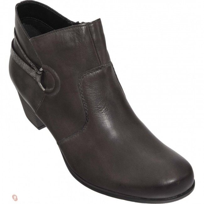 Womens leather ankle boots in brown color. Soft removable insole, zipper for the easier apply and non-slip sole. In large sizes from Remonte.