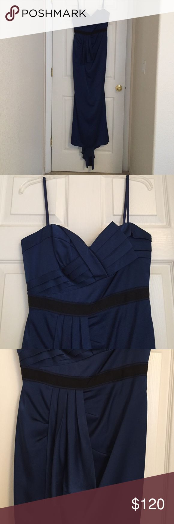 Duchess Satin Dress Brand New! Never been worn! Blue satin long BCBG Maxazria dress. Has a beautiful tail in the back when you walk. BCBGMaxAzria Dresses