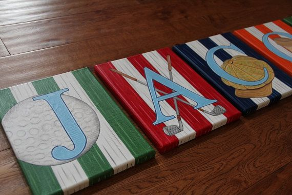 """8"""" x 10"""" Golf themed Custom Personalized Name Wall Letters Sports Golf Clubs Tee Hat Canvas Art Boys Bedding Room Decor on Etsy, $27.00"""