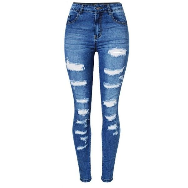 Olrain Womens High Waist Ripped Hole Washed Distressed Short Jeans at... ($20) ❤ liked on Polyvore featuring jeans, blue jeans, high waisted blue jeans, short jeans, highwaist jeans and high rise jeans