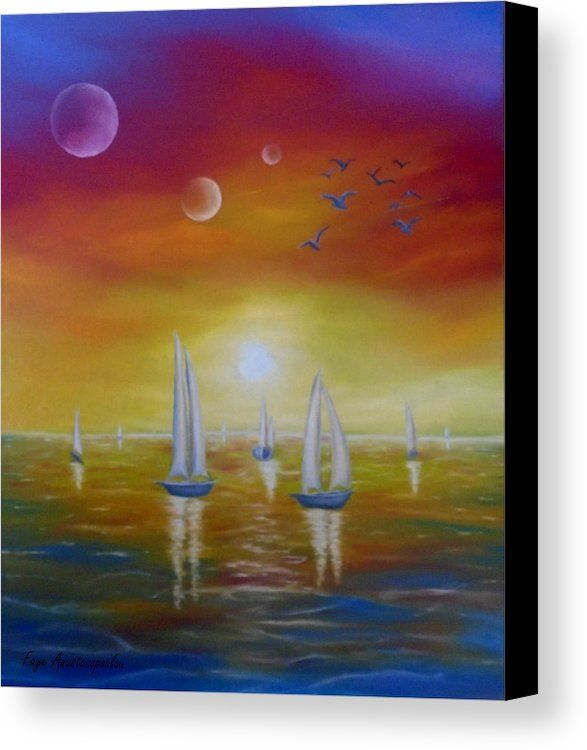 Canvas Print, Painting,  sailboats,nautical,marine,ocean,scene,sea,water,midnight,whimsical,sunset,summer,night,fantasy,surreal,whimsy,dream,sky,planets,seascape,colorful,decor,decorative,beautiful,images,contemporary,modern,wall art,awesome,cool,artwork,for sale,home,office,decor,items,ideas,oil painting, fine art america,fantasy breeze