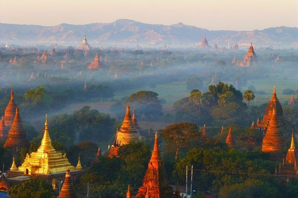 Over 2,000 ancient temples dot the Myanmar landscape at the site of this famed archeological site.