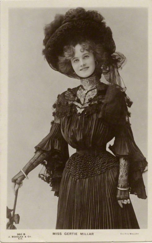 "English actress and singer of the early 20th century, Gertrude ""Gertie"" Millar (later Countess of Dudley) (21 February 1879 – 25 April 1952) - seen here for her her role in ""The Toreador,"" in 1901, at the Gaiety Theatre, in London... https://www.facebook.com/The.Attic.of.Sublime.Vintage/photos/a.942176595799792.1073741828.942146649136120/1169985789685537/?type=1&theater"