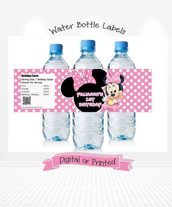 Baby Minnie Mouse 1st Birthday Water Bottle Wrappers Printed or Digital Copy 24 Hr Turnaround!  Water Bottle Labels Party Supplies