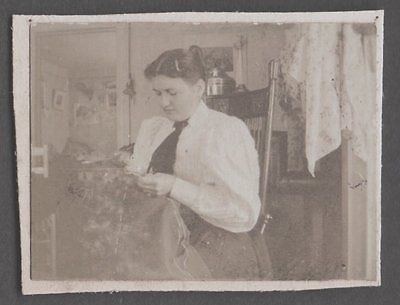 VINTAGE 97 PHOTOGRAPH STRATFORD CONNECTICUT VICTORIAN LADY FASHION SEWING PHOTO | eBay