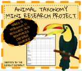 Animal Taxonomy Classification and Ecology Mini Research Activity