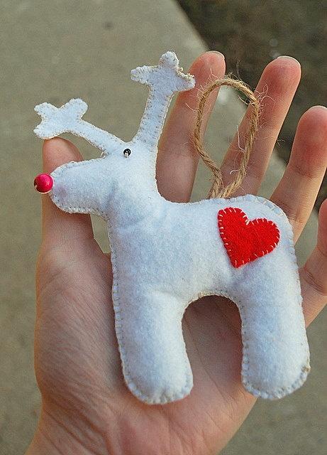 White Felt Reindeer by IrMarina on Etsy, $8.00