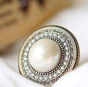 Big Simulated Pearl Round ring women bling jewelry antique silver plated crystal wholesale dropshipping Rings Wholesale Price
