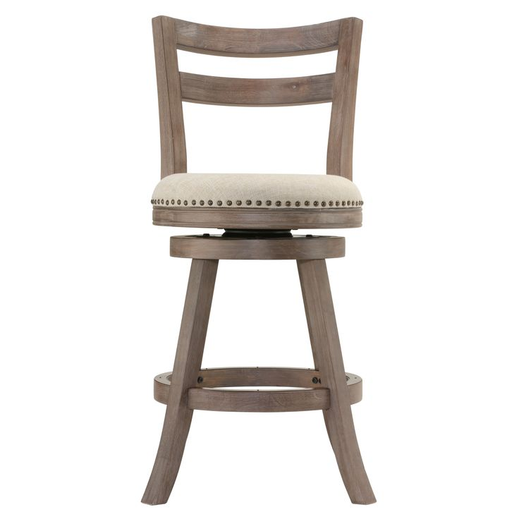 Complete your kitchen or dining area with this rustic French stool. This stool is designed with a weathered brown finish frame and is accentuated with a neutral thick weave with linen upholstery and h
