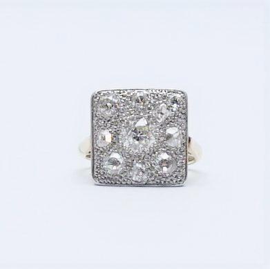 Art Deco Gold And Platinum Diamond Panel Ring