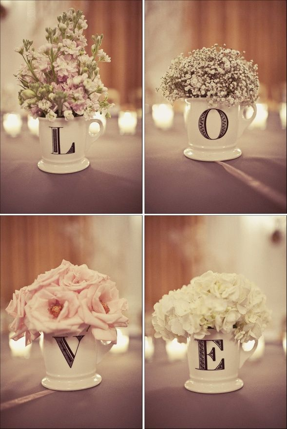 L O V E Centrepieces - Rustic Wedding