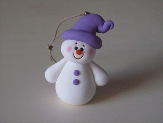 Polymer Clay Snowman Ornament by ClayPeeps on Etsy, $8.00