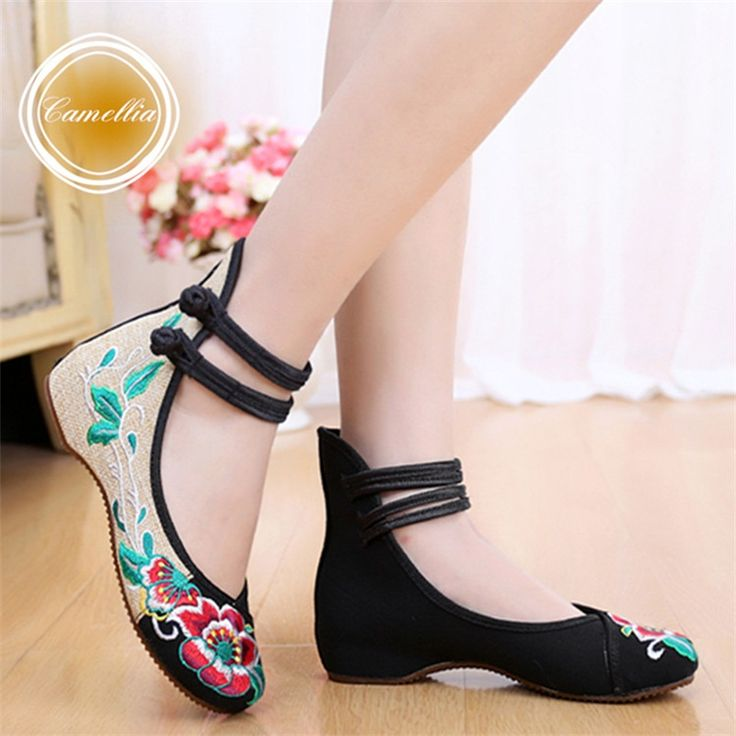 Mujeres de moda de estilo chino planos ocasionales zapatos de suela suave Cozy Retro bordado para caminar zapatos de tela mujer Plus Size 41(China (Mainland))