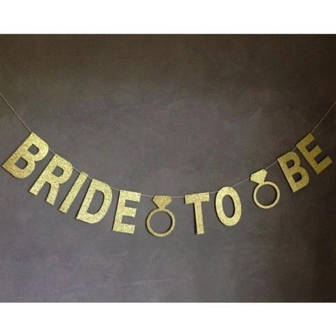 """BRIDE TO BE"" Gold Glitter Banner w/ Diamond Rings Bridal Shower Bachelorette Party Decor"
