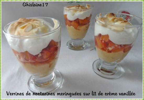 Verrines de nectarines meringuées sur lit de crème vanillée - Ghislaine Cuisine
