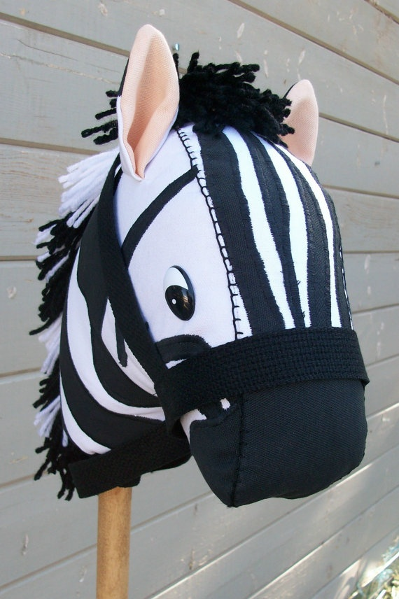 Stick Horse Zebra Applique Ready to Ride MADE by RusticHorseShoe, $48.00