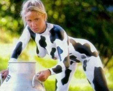 Hot girls milking cows
