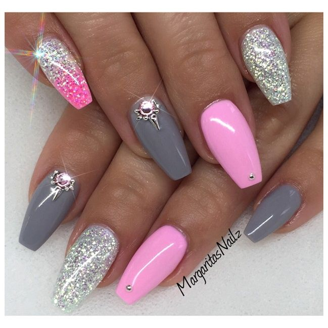 Best 25 bling nails ideas on pinterest acrylic nails coffin pink and gray coffin nail design prinsesfo Images