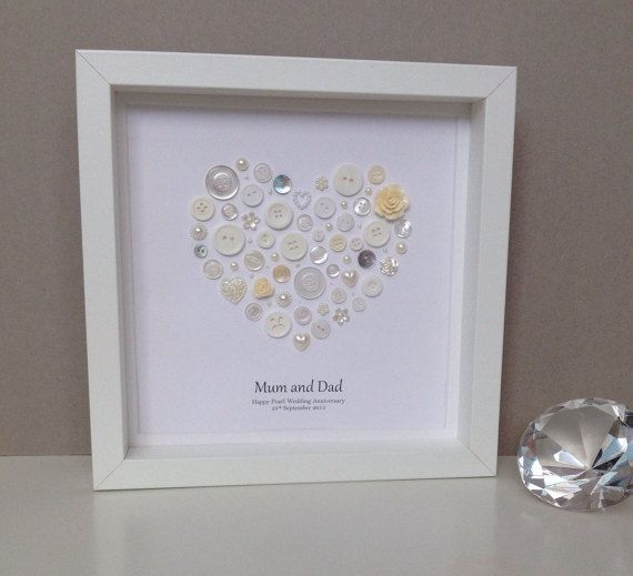 Personalised Pearl Wedding Anniversary Gift by ButtonArtbySophie
