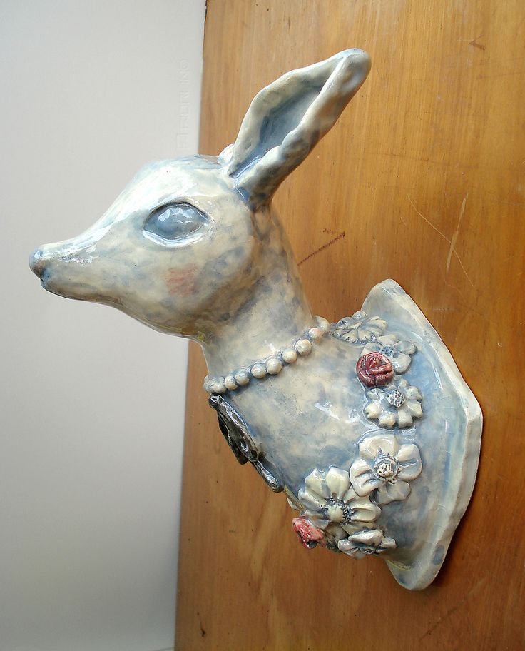 doodles artsy sculptures forward ceramic deer head porcelain deer head