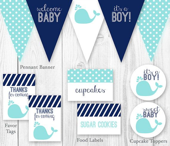 Whale Baby Shower Package   Blue U0026 Navy. DIY Printable Baby Shower  Decorations   Blue Whale Boy Baby Shower Decor