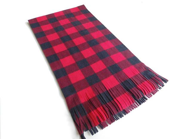 Red Buffalo Plaid Scarf Oversized Scarf Red and Black Check