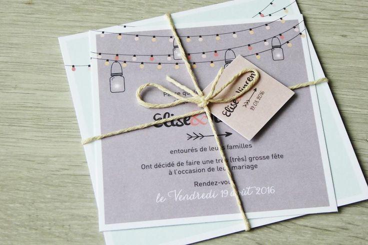 Faire part maraige Elise et Vincent - champetre - guinguette - pictos - wedding - lampions - lanterne - fleche - programme - rsvp   https://www.facebook.com/lespetitsmooceane/