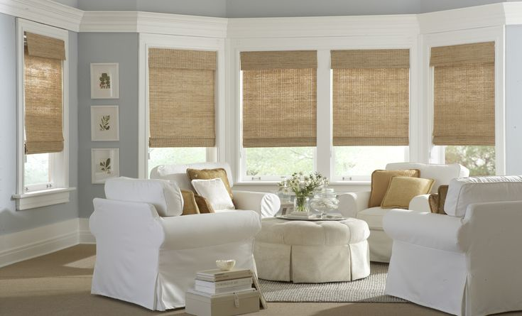 Great Matchstick Blinds That Help You Decorating Your Home: great living room with white sofa and round ottoman coffee table also matchstick blinds for window treatments